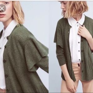 Anthropologie Cashmere Wool Ruffle Cardigan Small